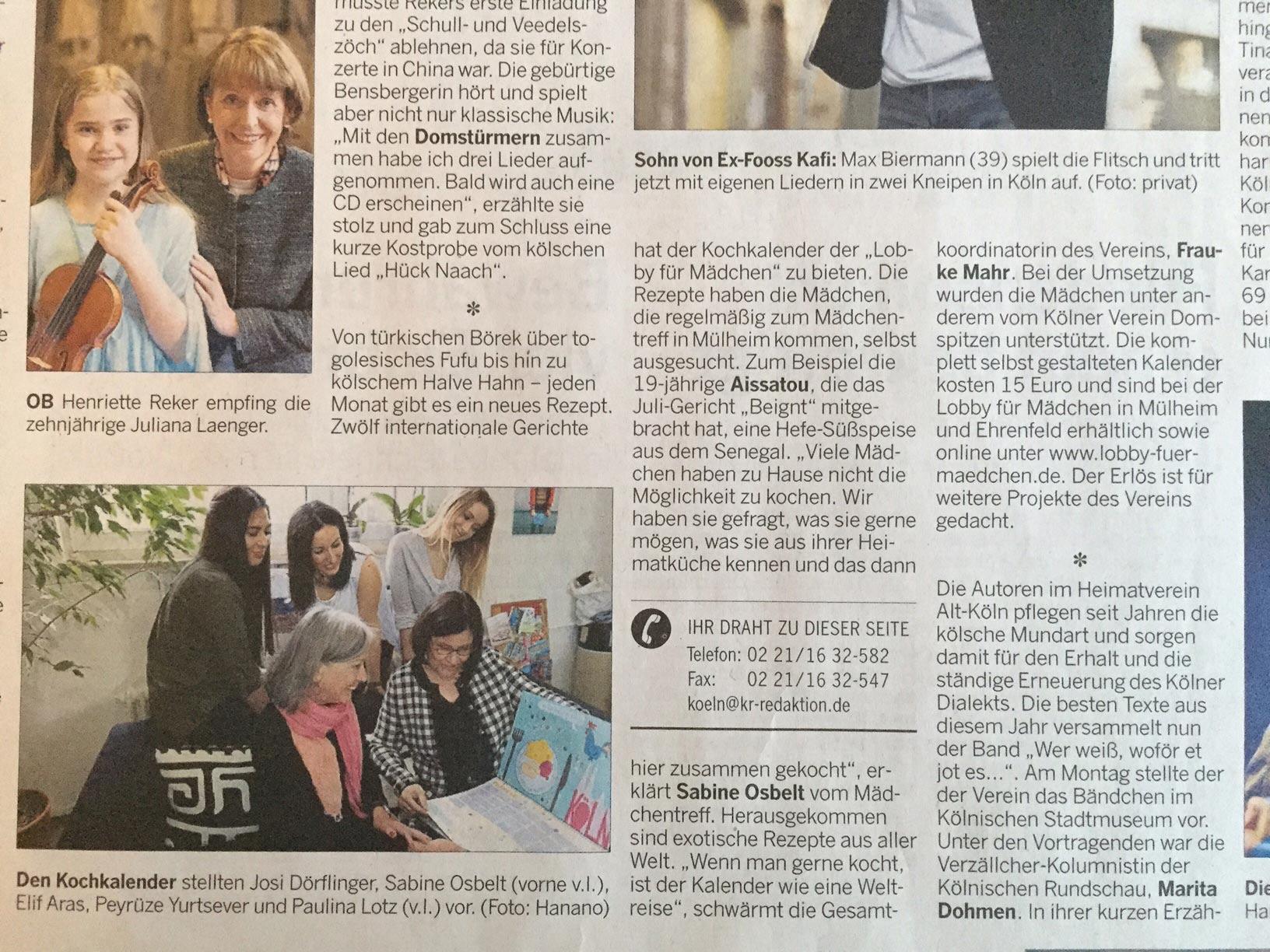"""Zeitungsartikel in der Kölnischen Rundschau über das Kochkalender-Projekt des Domspitzen eV für die """"Lobby für Mädchen"""""""