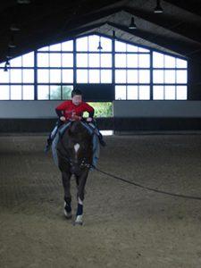 Ein Junge sitzt auf einem Pferd und lernt das Voltigieren