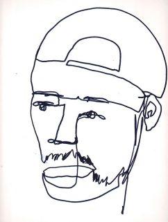 """Zeichnung eines Mannes mit Kappe. Aus einer Linie gestaltet. Kreative Arbeit eines Jugendlichen des Projekts """"Bugs Art"""", das vom Domspitzen eV finanziert wurde."""