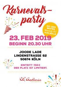 Einladung zu einer Karnvalsparty der KG Apollonia am 23.02.2019 ab 20:30 Uhr im Joode Lade im Belgischen Viertel Köln.